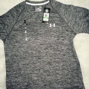 Under Armour Black/Midnight Stripe Short Sleeve LG